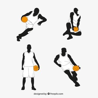 Conjunto de mão desenhada jogadores de basquete