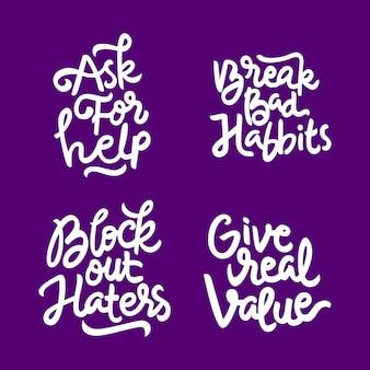 Conjunto de mão desenhada letras citações inspiradoras e motivacionais