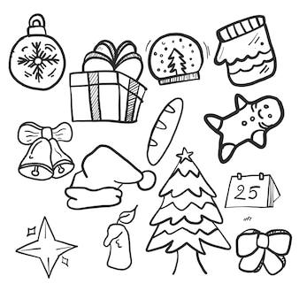 Conjunto de mão desenhada natal doodles.