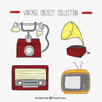 Conjunto de mão desenhada objetos do vintage