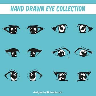 Conjunto de mão desenhada olhares