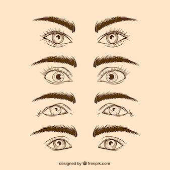 Conjunto de mão desenhada olhos e sobrancelhas realistas