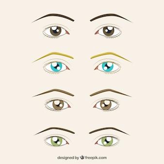 Conjunto de mão desenhada olhos e sobrancelhas