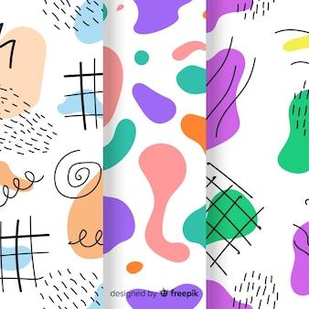 Conjunto de mão desenhada padrão abstrato