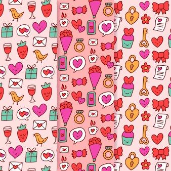 Conjunto de mão desenhada padrão de dia dos namorados