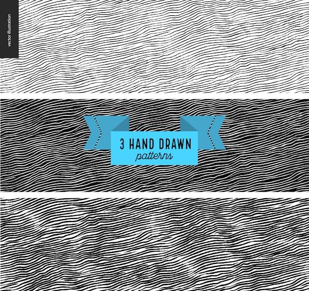Conjunto de mão desenhada padrão de tecido preto, branco. padrão sem emenda de vetor. textura monocromática. design gráfico de hipster. vetor sem fim, texturas arranhadas simples, listras