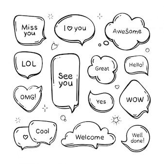 Conjunto de mão desenhada pensa e fala bolhas do discurso com mensagem, saudações e diálogo. estilo doodle. isolado