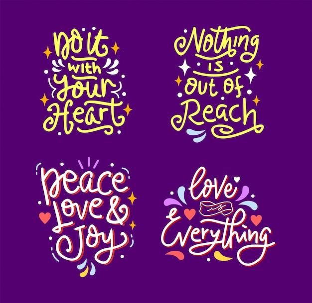 Conjunto de mão desenhada rotulação inspiradora e motivacional citação