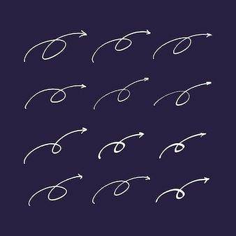 Conjunto de mão desenhada setas e linhas.