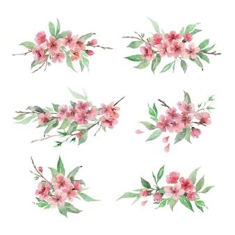 Conjunto de mão desenhado em aquarela arranjos florais. flor de cerejeira