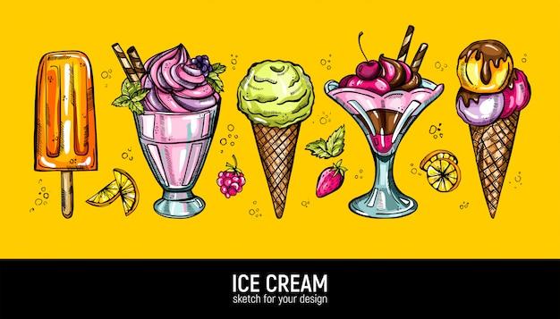 Conjunto de mão desenhando sorvete realista. coleção de doces desertos.