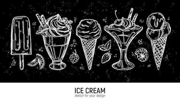 Conjunto de mão desenhando sorvete realista
