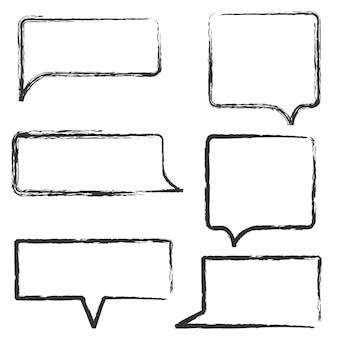 Conjunto de mão desenhar bolhas do discurso