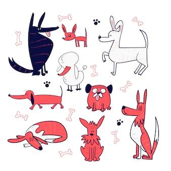 Conjunto de mão desenhar coleção de cães