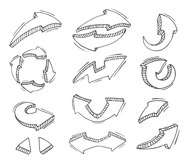 Conjunto de mão desenhar seta isolado no branco.