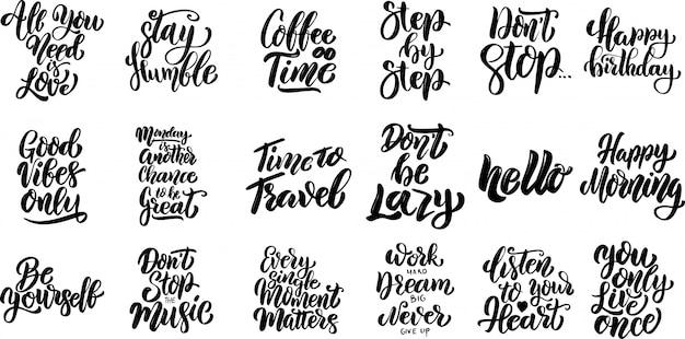 Conjunto de mão escrita letras citações motivacionais, slogans de tipografia inspirada. elementos para cartaz, cartão, banner. elementos
