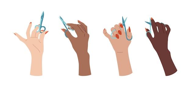 Conjunto de mão feminina bem cuidada com tesoura de unha. projeto multirracial de unhas de mãos na moda. acessórios planos de manicure