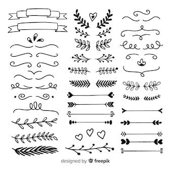 Conjunto de mão minimalista desenhado enfeites de casamento