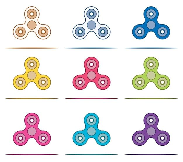 Conjunto de mão spinner fidget. ilustração vetorial.