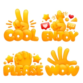 Conjunto de mãos amarelas emoji em vários gestos com títulos legal, aproveite, por favor, uau.