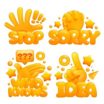 Conjunto de mãos amarelas emoji em vários gestos com títulos pare, desculpe, quem sabe, ideia.