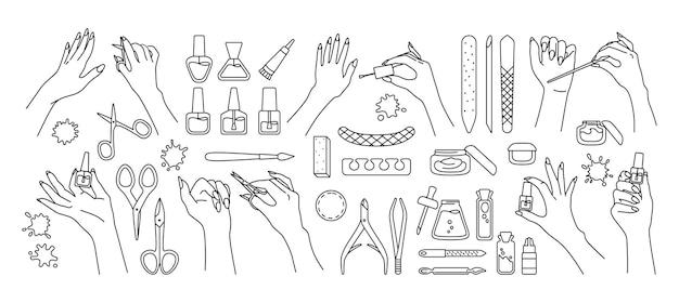 Conjunto de mãos bem cuidadas e ferramentas de manicure com linha preta