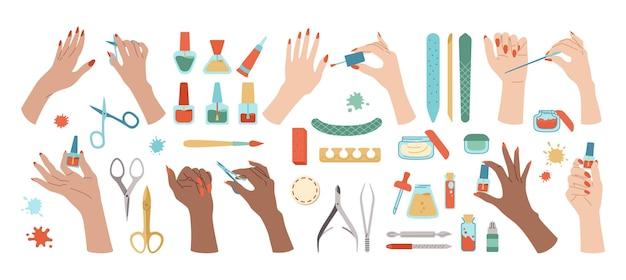 Conjunto de mãos bem cuidadas e ferramentas de manicure