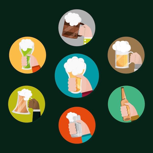 Conjunto de mãos com cerveja