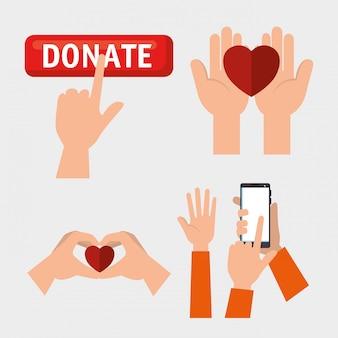 Conjunto de mãos com corações para doação de caridade
