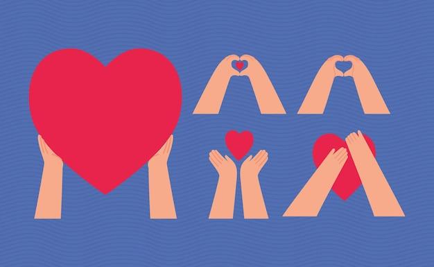 Conjunto de mãos com corações