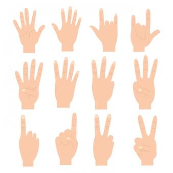 Conjunto de mãos com diferentes gestos