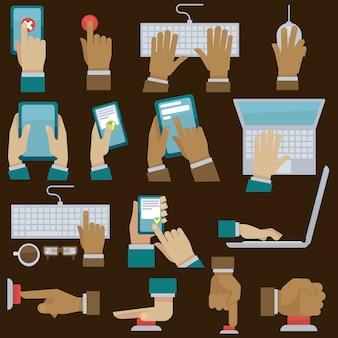 Conjunto de mãos com gadgets. ilustração vetorial