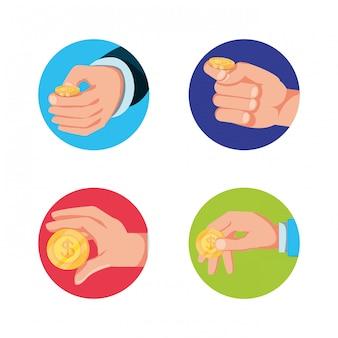 Conjunto de mãos com ícone isolado de moedas