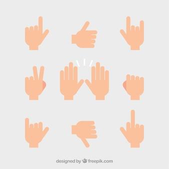 Conjunto de mãos com sinais diferentes