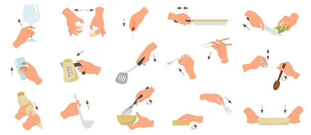 Conjunto de mãos de chef ou fogão mostrando diferentes gestos. jovem caucasiana