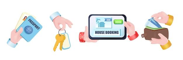 Conjunto de mãos de conceito gráfico de reserva de casa. mãos humanas segurando um tablet com site de aluguel de imóveis, passaporte, chaves de apartamento, pagamento por quarto no hotel. ilustração vetorial com objetos 3d realistas
