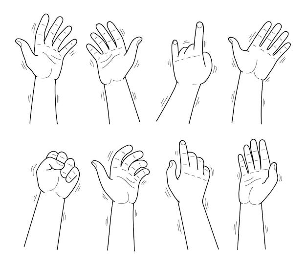 Conjunto de mãos de linha fina em diferentes gestos, emoções e sinais