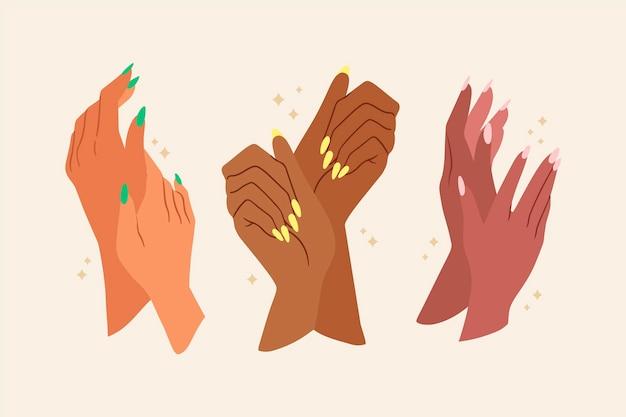 Conjunto de mãos de manicure