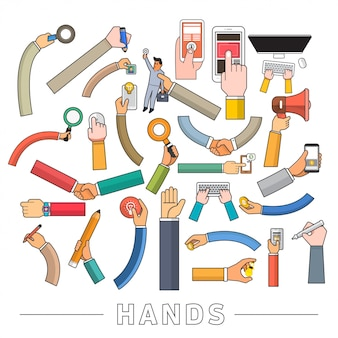 Conjunto de mãos de vetor