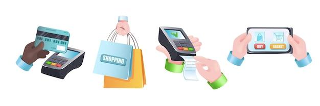 Conjunto de mãos do conceito gráfico de compras. mãos humanas têm cartão de crédito para pagamento, sacolas de compras, pagamento de contas por terminal, celular com aplicativo online. ilustração vetorial com objetos 3d realistas