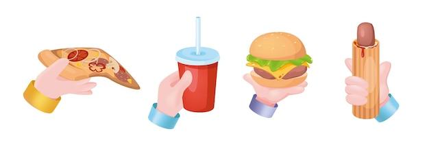 Conjunto de mãos do conceito gráfico de fast food. mãos humanas segurando pizza, beber refrigerante ou coca-cola no copo, cheeseburguer ou hambúrguer, cachorro-quente. dieta ou menu pouco saudável. ilustração vetorial com objetos 3d realistas