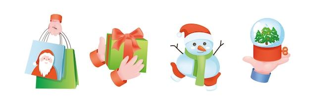 Conjunto de mãos do conceito gráfico de férias de natal. mãos humanas segurando sacolas de compras, caixa de presente com arco, boneco de neve e globo de neve. símbolos de celebração de natal. ilustração vetorial com objetos 3d realistas