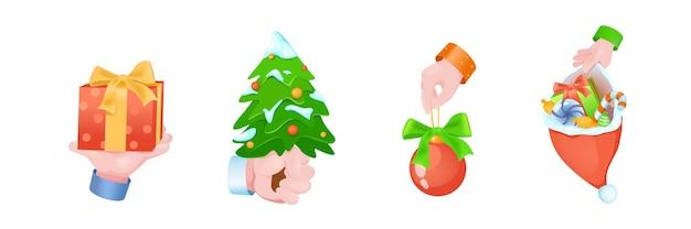 Conjunto de mãos do conceito gráfico de natal. mãos humanas segurando uma caixa de presente com arco, árvore festiva, bola decorativa, chapéu de papai noel com presentes. símbolos de natal. ilustração vetorial com objetos 3d realistas