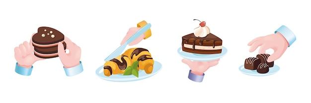 Conjunto de mãos do conceito gráfico de sobremesa de doces. mãos humanas segurando biscoitos de chocolate, croissants, bolo de creme com cereja, doces. doçaria, menu de pastelaria. ilustração vetorial com objetos 3d realistas