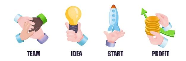 Conjunto de mãos do conceito gráfico de solução de negócios. símbolos de mãos humanas de trabalho em equipe, geração de ideias, lançamento de inicialização, aumento de lucros, estratégia de sucesso. ilustração vetorial com objetos 3d realistas
