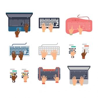 Conjunto de mãos do teclado.