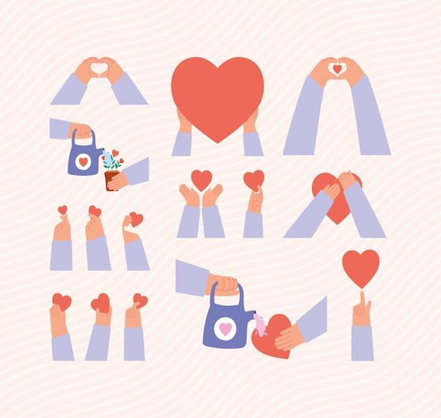Conjunto de mãos e corações