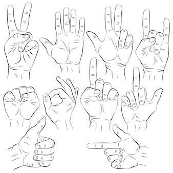 Conjunto de mãos em diferentes gestos de emoções e sinais em branco