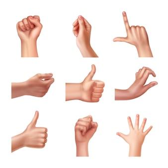 Conjunto de mãos em diferentes gestos, emoções e sinais