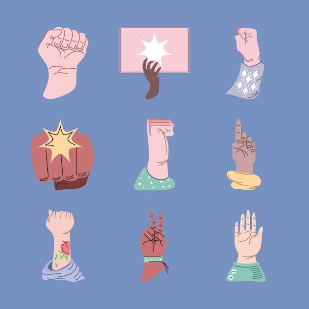 Conjunto de mãos em protesto